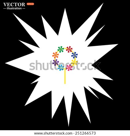 Flash, an explosion on a black background. Children's toy wind mill, turntables, pinwheel wind vane, vector illustration, EPS 10 - stock vector
