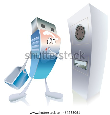 flash card in confusion, in embarrassment looks at the unfamiliar socket for connection - stock vector