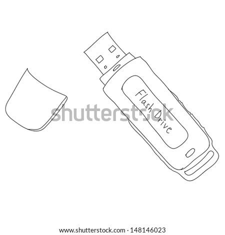 flash drive sketch, eps10, vector - stock vector