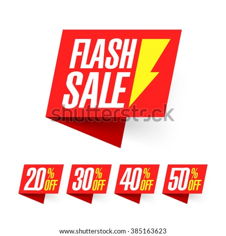 Flash Sale, deal of the day labels vector illustration - stock vector