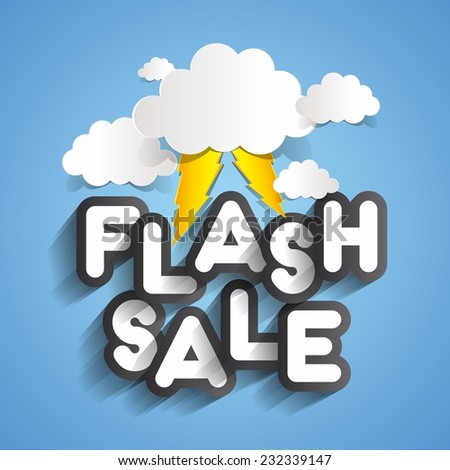 Flash Sale Design With Clouds And Thunders vector illustration - stock vector