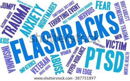 Flashbacks Word Cloud on a white background.  - stock vector