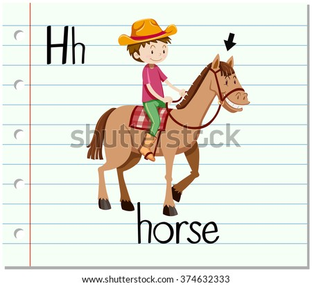 Flashcard letter H is for horse illustration - stock vector
