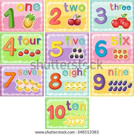 Flashcard number one to ten illustration - stock vector