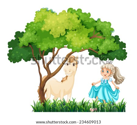 Flashcard of a princess with a horse - stock vector