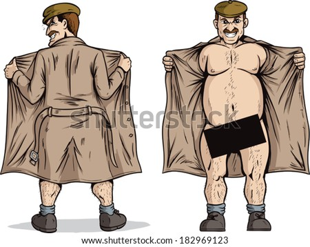 Flasher flashing. With vector, Black box can be removed to show full nudity. - stock vector