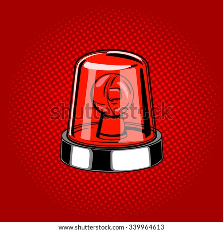 Flasher siren red color comic book style vector illustration - stock vector