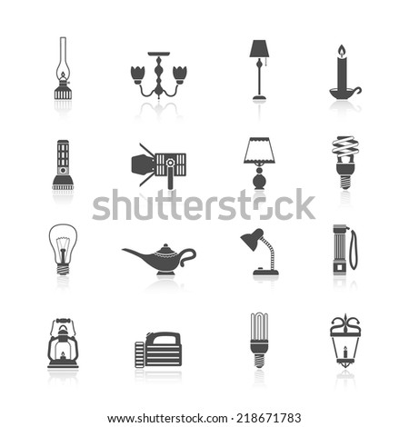 Flashlight and lamps light and illumination equipment icons black set isolated vector illustration - stock vector