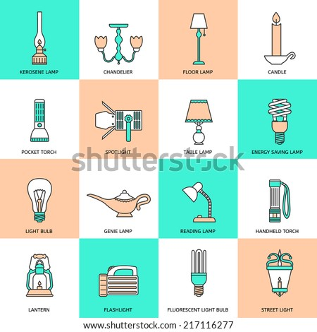 Flashlight and lamps light and illumination equipment icons flat line set isolated vector illustration - stock vector