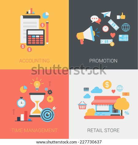 Flat accounting, promotion, time management and retail store concept. Document, calculator, coins, pencil, loudspeaker. Vector icon banner template set. Web illustration. Website infographic elements. - stock vector