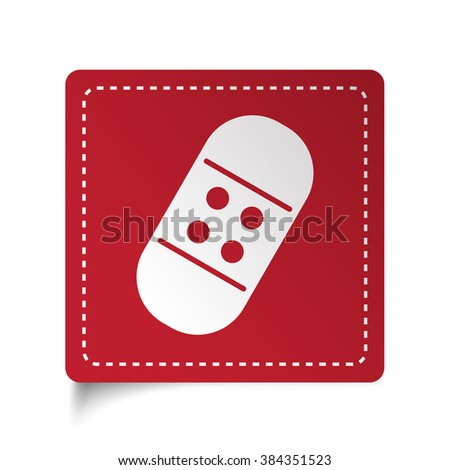Flat Adhesive Bandage icon on red sticker - stock vector