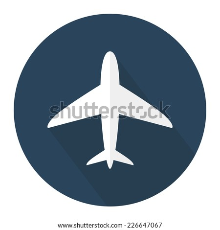 Flat airplane icon with long shadow. Vector illustration - stock vector