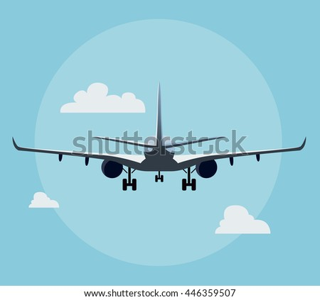 Flat airplane illustration, view of a plane landing from the back - stock vector