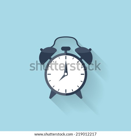 Flat alarm clock icon - stock vector