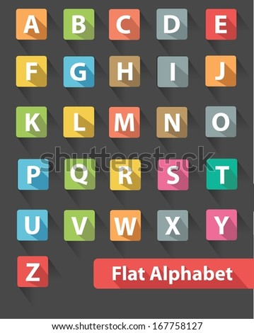 Flat alphabet icons,Colorful version,vector - stock vector