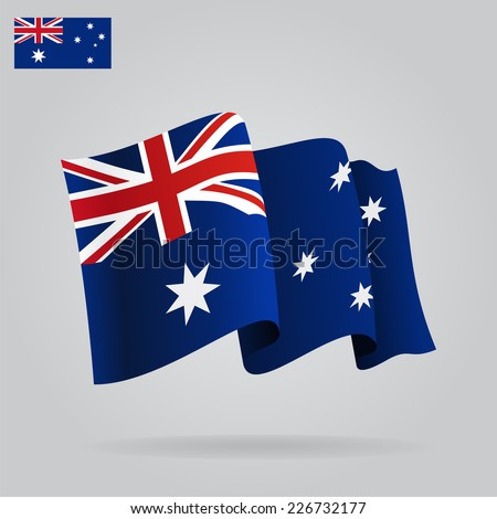 Flat and waving Australian Flag. Vector illustration - stock vector