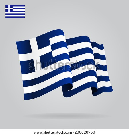 Flat and waving Greek Flag. Vector illustration - stock vector
