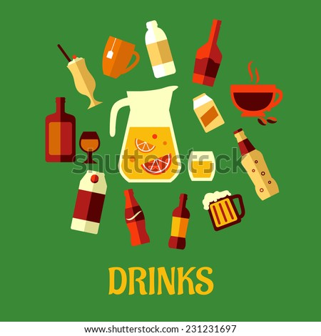 Flat assorted beverages and drinks icons including fruit juice, beer, soda, beer, champagne, milkshake, liquor, milk, coffee, liqueur on a green background - stock vector