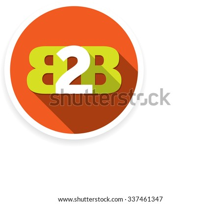 Flat B2B letters logo icon in circle and shadow style. - stock vector