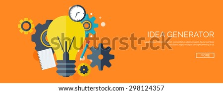 Flat background with bulb. New business ideas. Creative vision. Smart solutions. - stock vector