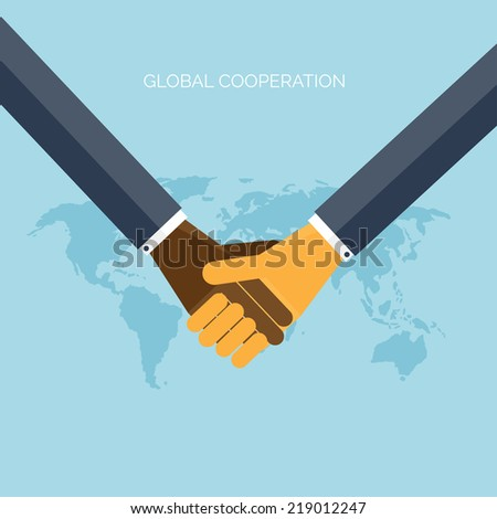 Flat background with hands.Global cooperation and partnership. Business idea and teamwork. - stock vector