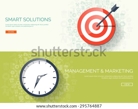 Flat background with target and clock. Smart solutions and business targeting. Management and planning. - stock vector