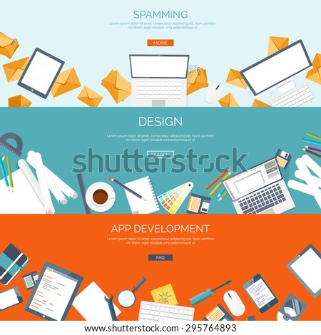 Flat backgrounds set.  Spamming. Design. App development. Computing and web-design. Programming, emailing. Coding, - stock vector