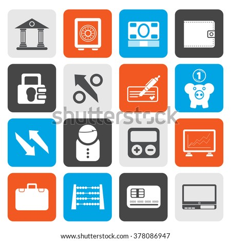 Flat Bank, business and finance icons - vector icon set - stock vector