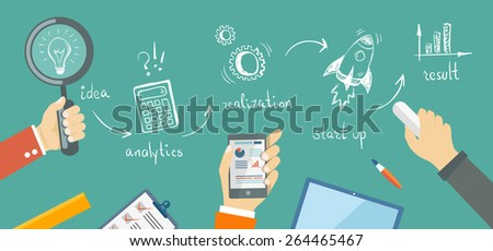 Flat banner of bussiness plan in doodle style. Idea, anaytics, realization, start up, result. Eps10 - stock vector