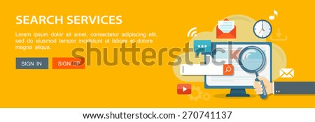 Flat banner of hand holding a magnifying glass, computer and icons. Search services illustration. Eps10 - stock vector