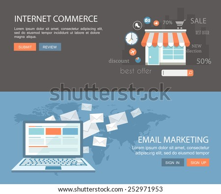 Flat banner set.Internet commerce and email marketing illustrations with icons. Eps10 - stock vector