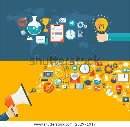 Flat banners set. Creative idea and digital marketing illustrations with icons. Eps10 - stock vector