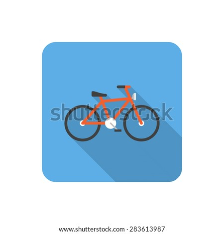 Flat bicycle icon with long shadow. Vector illustration - stock vector