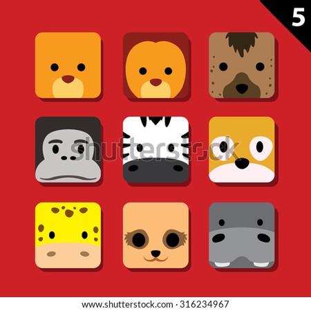 Flat Big Animal Faces Application Icon Cartoon Vector Set 5 (Safari) - stock vector