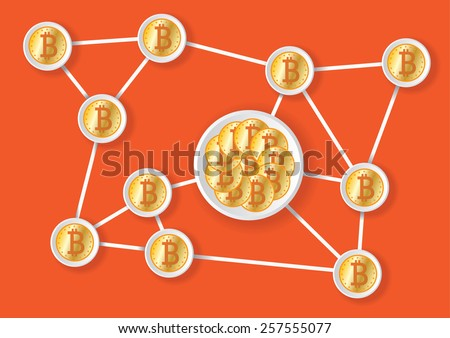 Flat bitcoin net with blue background - stock vector