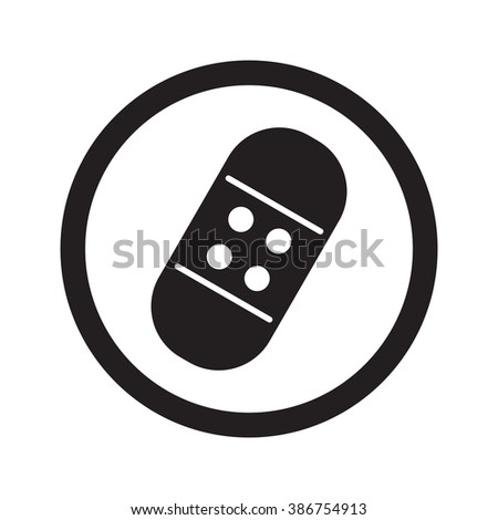 Flat black Adhesive Bandage web icon in circle on white background - stock vector