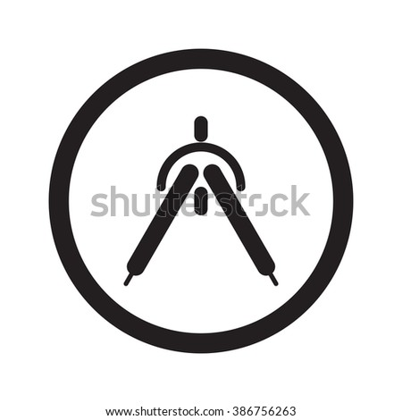Flat black Drafting Compass web icon in circle on white background - stock vector