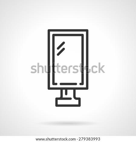 Flat black line vector icon for city advert lightbox on white background. - stock vector