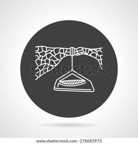 Flat black round vector icon with white line hanging tent for extreme sport on gray background - stock vector