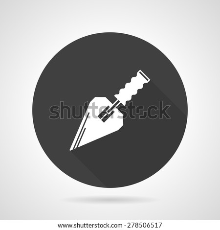 Flat black round vector icon with white silhouette construction trowel on gray background.  - stock vector