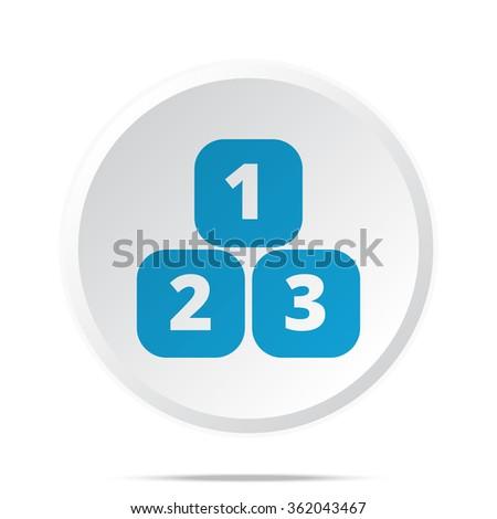 Flat blue 123 Blocks icon on circle web button on white - stock vector