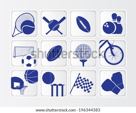flat blue button sports ball series on white background - stock vector