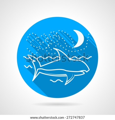 Flat blue round vector icon with white line shark floating in sea under the moon on white background. - stock vector