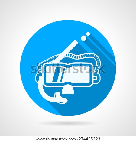 Flat blue round vector icon with white silhouette mask with breathing tube for snorkeling or diving on gray background. Long shadow design - stock vector