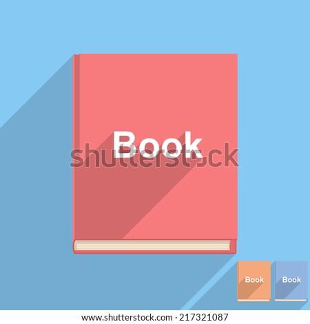 Flat book icon, vector eps10 illustration - stock vector