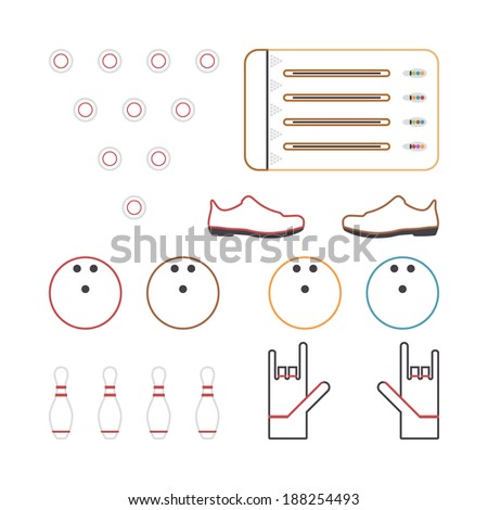 Flat bowling icons design with white background - stock vector