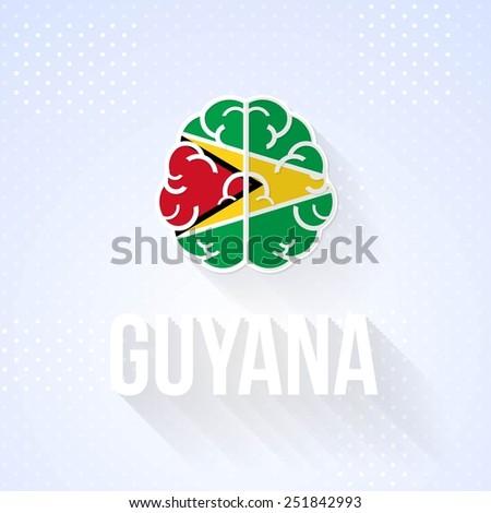 Flat Brain and Creative Ideas Vector National Icons Co-operative Republic of Guyana - stock vector