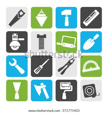 Flat Building and Construction Tools icons - Vector Icon Set - stock vector