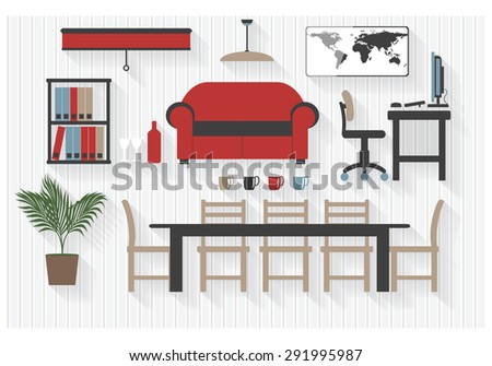 Flat Business Boardroom Furniture Icons with Computers - All Long Shadows on one layer - contains blends  - stock vector