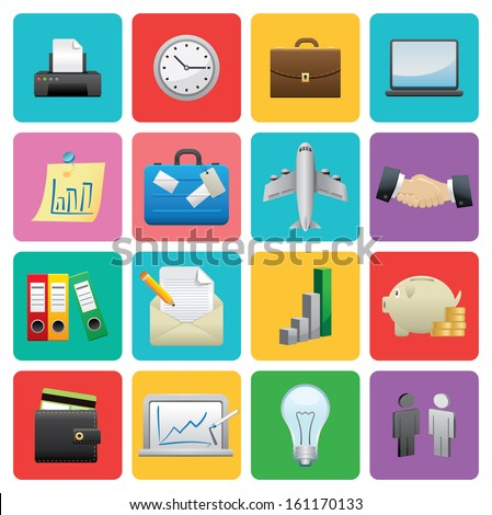 Flat Business icon set  - stock vector